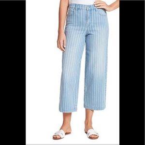 Gloria Vanderbilt Stripe Wide Leg Crop Jeans
